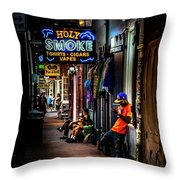 Holy Smoke Bourbon Street Throw Pillow