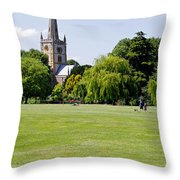 Holy Trinity Church At Stratford Upon Avon Throw Pillow