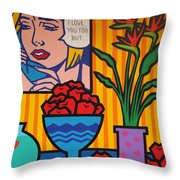 Homage To Lichtenstein And Wesselmann Throw Pillow