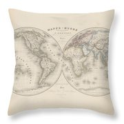 Homalographic World Map  Throw Pillow