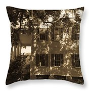 Mcleod Plantation Home In Black And White Throw Pillow