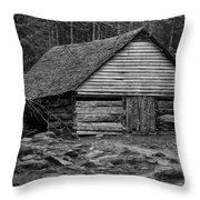 Home In The Woods Bw Throw Pillow