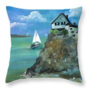 Home Overlooking The Sea Throw Pillow