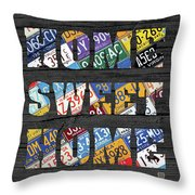 Home Sweet Home Rustic Vintage License Plate Lettering Sign Art Throw Pillow