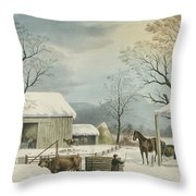 Home To Home To Thanksgiving, 1867 Throw Pillow