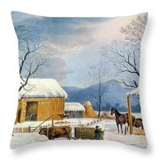 Home To Thanksgiving, 1867 Throw Pillow