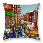 Home Town Painting St Viateur Bagel Street Scene Coca Cola Truck Montreal 375 Carole Spandau Art     Throw Pillow