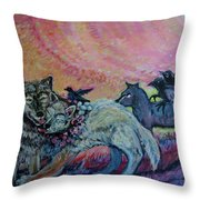Homecoming Wolves And Ravens Throw Pillow