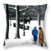 Homeless In Central Park Throw Pillow