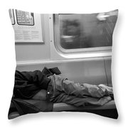 Homeless In Motion In Black And White Throw Pillow
