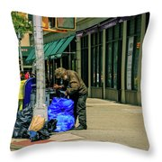 Homeless In Nyc Throw Pillow