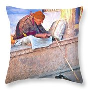 Homeless Man In India Throw Pillow