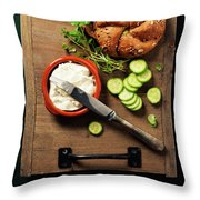 Homemade Bread Loaf And Fresh Ingredients For Making Vegetarian  Throw Pillow