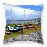 Homemade Outriggers Canoes On The Indian River Lagoon In Florida Throw Pillow