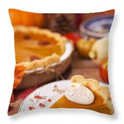 Homemade Pumpkin Pie On A Rustic Table With Autumn Decorations Throw Pillow