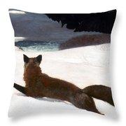 Homer Fox Hunt 1893 Throw Pillow