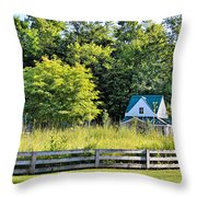 Small Farm Homestead Throw Pillow