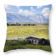 Homestead In The Grand Tetons Throw Pillow