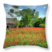 Homestead In The Poppies Throw Pillow