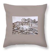 Homestead On Brush Creek Historical Vignette Throw Pillow