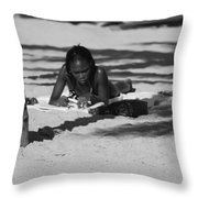 Homework At The Hollywood Beach Throw Pillow