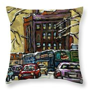 Buy Original Paintings Montreal Petits Formats A Vendre Scenes Traffic On Rue Van Horne Throw Pillow