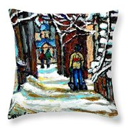 Buy Original Paintings Montreal Petits Formats A Vendre Scenes Man Shovelling Snow Winter Stairs Throw Pillow