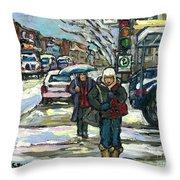 Rue Cote St Catherine Peintures Petit Format A Vendre Scenes De Ville Montreal Street Scenes  Throw Pillow