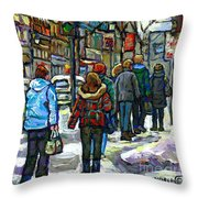 Promenade Au Centre Ville Rue Ste Catherine Montreal Winter Street Scene Small Paintings  For Sale Throw Pillow