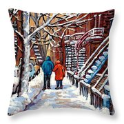 Promenade En Hiver Winter Walk Scenes D'hiver Montreal Street Scene In Winter Throw Pillow