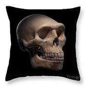 Homo Erectus Skull Throw Pillow