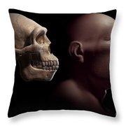 Homo Erectus With Skull Throw Pillow