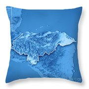 Honduras Country 3d Render Topographic Map Blue Border Throw Pillow