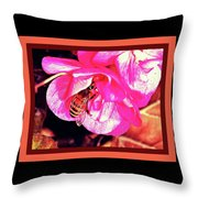 Honey Bee In A Pink Flower Throw Pillow