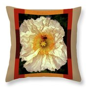 Honey Bee In Stunning White And Gold Flower Throw Pillow