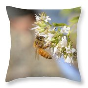 Honey Bee On Herb Flowers Throw Pillow