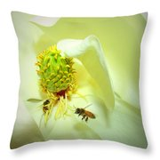 Honey Bees And Magnolia II Throw Pillow