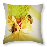 Honey Bees And Magnolia Throw Pillow