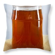 Honey In Clear Glass Jar Throw Pillow