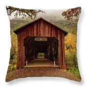 Honey Run Covered Bridge In Autumn Throw Pillow