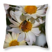 Honeybee And Daisy Mums Throw Pillow