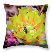 Honeybee At Work Throw Pillow