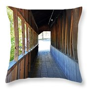 Honeymoon Bridge Sidewalk Throw Pillow