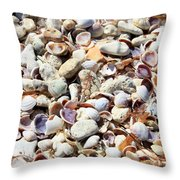 Honeymoon Island Shells Throw Pillow
