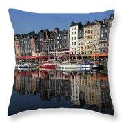 Honfleur Harbour, Normandy, France Throw Pillow