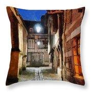 Honfleur Street At Night Throw Pillow