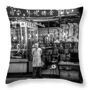Hong Kong Foodmarket In Black And White, China Throw Pillow