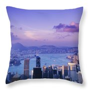Hong Kong Harbor Throw Pillow