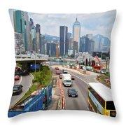 Hong Kong Traffic II Throw Pillow