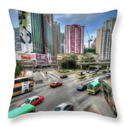 Hong Kong Traffic Throw Pillow